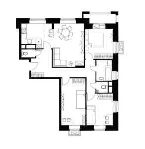 Планировка 4-комнатной квартиры в Лайково - тип 3
